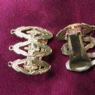 Floral Pattern Gold Tone Clip On Earrings 1980s Fashion