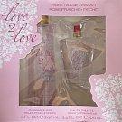 Love 2 Love Fresh Rose n Peach 2 Pc Set: Eau de Toilette 3.4 Oz n Fragrance 8 oz