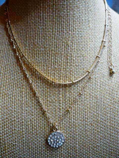 Efly 18k Gold Plated Layered Necklace Layering Beads Boho Rhinestone NIB