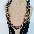 Ladies Boho Wood Beaded Tassel Long Bohemian Collar Necklace Belt NIP