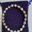 "Amandastones Natural Stretch Bracelet Unisex 7"" Multicolor Brown and Goldtone Beads"