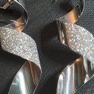 Jin Chen Shimmer Crystal Scrub Spiral Silver Dangle Pierced Earrings New In Box