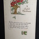ANTIQUE CHRISTMAS GREETINGS POSTCARD POINSETTIAS in BASKET Early 1900s