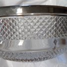 Mid-Century Cut-Glass Silverplate Antique Serving Fruit Bowl Marked England