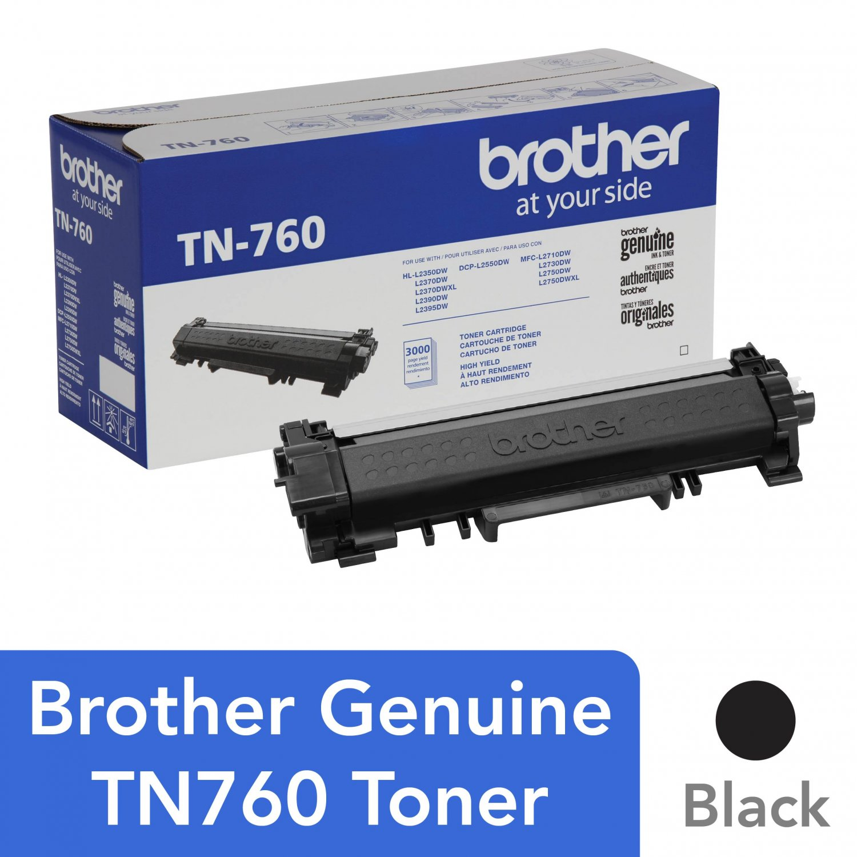 Brother TN-760 Black Toner Cartridge, High Yield