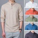Men's Fashion Linen Shirt Long Sleeve Slim Fit Leisure Shirt