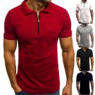 Mens Solid Lapel Polo Shirt Muscle Short Sleeve Zip Neck Business Sport Slim