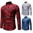 Men's Long Sleeve Shirts European Fashion Casual Printed Shirts