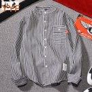 Y Hong Kong wind striped long-sleeved shirt autumn new Korean version of ulzzang