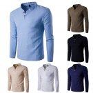 HOT Fashion Mens Casual Polo Shirt Slim Fit V-neck Long Sleeve Tops Tee T-shirt