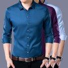 Mens Casual Shirt Fashion T-Shirt Long Sleeve Iron-Free Solid Color Shirt