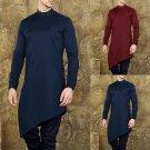Mens Kurta Suit Pajama Long Sleeve Casual Button Irregular Hem Long Shirts Thobe