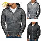 Men Zip Up Splice Hooded Sweatshirt Long Sleeve Black Grey M