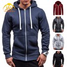 Men Pocket Zip Up Hooded Sweatshirt Solid Long Sleeve Black M