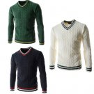 Men Cotton Collar Leisure Wool Sweater Knitting Pullover