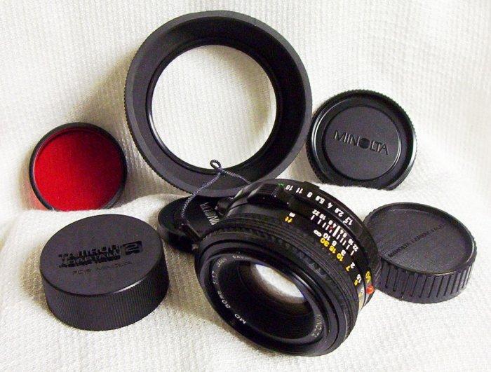 Minolta Bayonette Telephoto Lens with Hoya 49mm R(25A) Filter