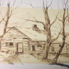 W.A. Lloyd Davies (1975) Log Home Charcoal/Wash (Original)