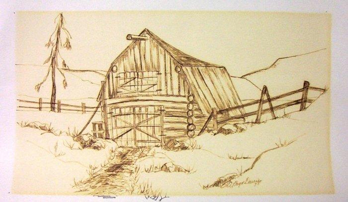 W.A. Lloyd Davies (1975) Log Barn Charcoal/Wash (Original)