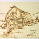 W.A. Lloyd Davies (1975) Log Barn Charcoal/Wash (Original)