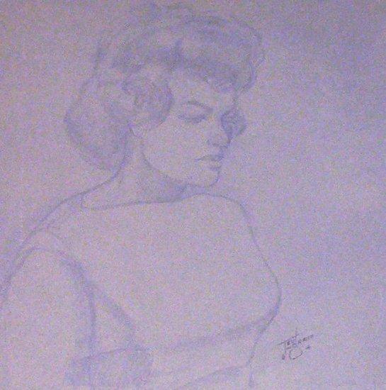 Portrait of a Young French Canadian Woman -A.E. Ingram Circa 1960's  Original Artwork -