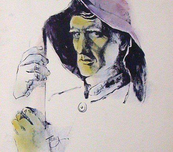 The Fisherman an original piece of artwork by Ted Ingram circa 1950's