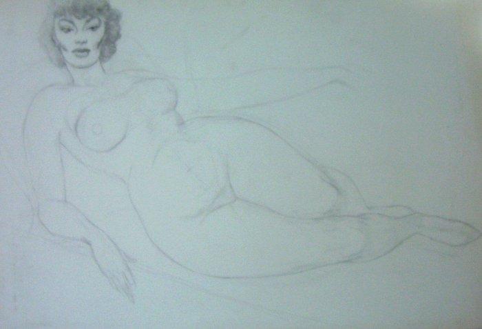 Alluring Nude Original Artwork A.E. (TED INGRAM) -