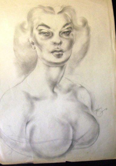 """Puckering Buxom Blonde"" - A.E. (Ted) Ingram - Original Drawiing - 14 x 20 (1951)"
