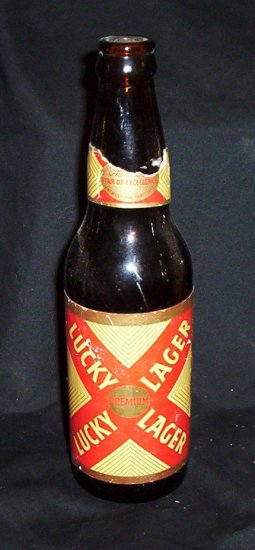 Vintage Lucky Lager Beer Bottle 12 Ounce