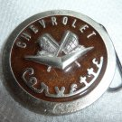 Round Brass Chevrolet Corvette Belt Buckle