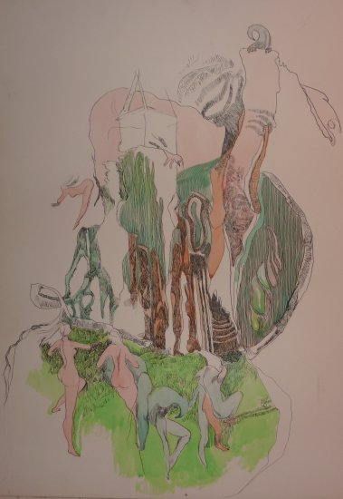 Flushing out the Creative Divinity - original artwork in Ink & Water Colour by A.E. (Ted) Ingram
