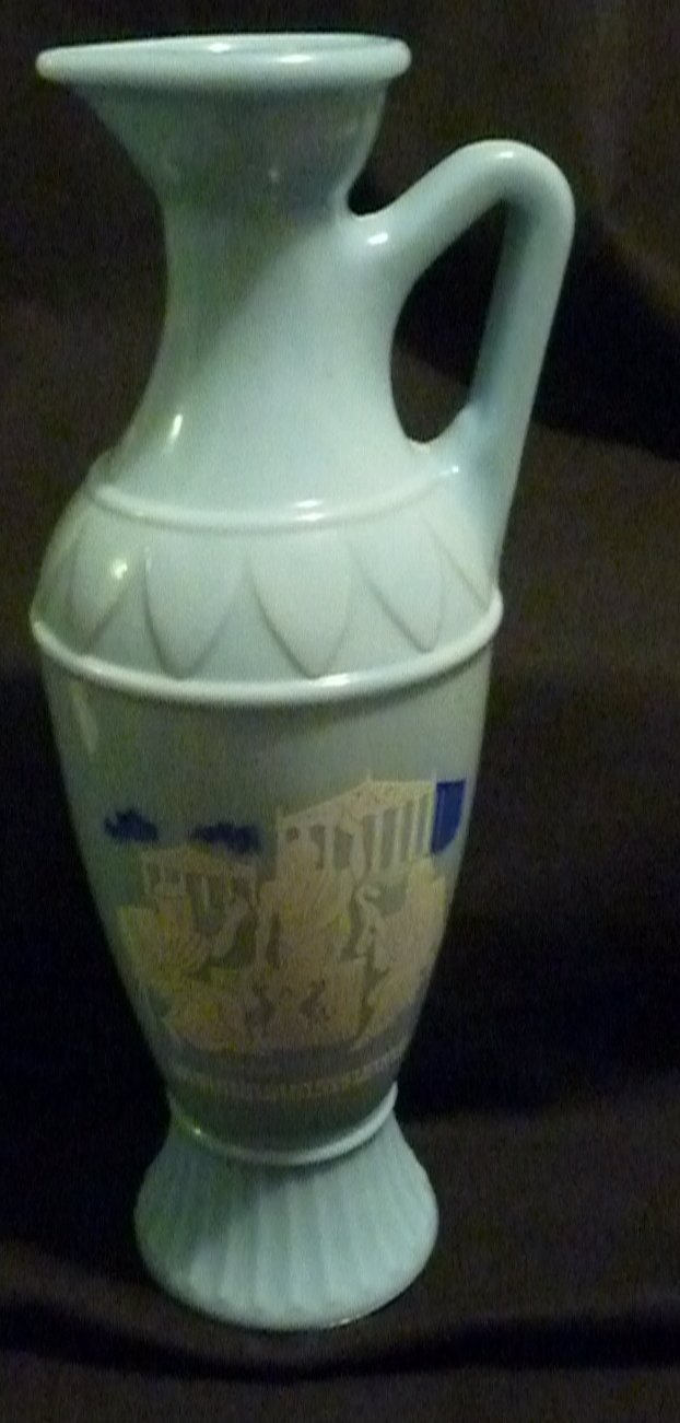 Jim Beam Vintage Grecian Wedgwood Blue Whiskey Bottle  (pitcher)1961 (2)