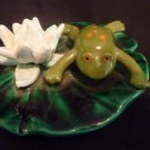 Hand Made for aquarium Ceramic Frog on Lily Pad with Flower