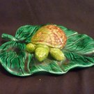 Hand Made for aquarium Ceramic Turtle on Lily Pad