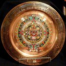 Mayan calendar Vintage round Copper 11in wall plaque chased multicolour enamel