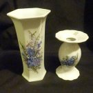Beautiful Seltmann Weiden Vase & Matching Candle Holder Blue Bavaria
