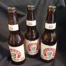3- Calgary Beer Export Lager Bottles - 1 empty-  1 full 12 oz. C. 1956