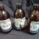 3 - Molson's Canadian Lager Bottles (Stubbies)
