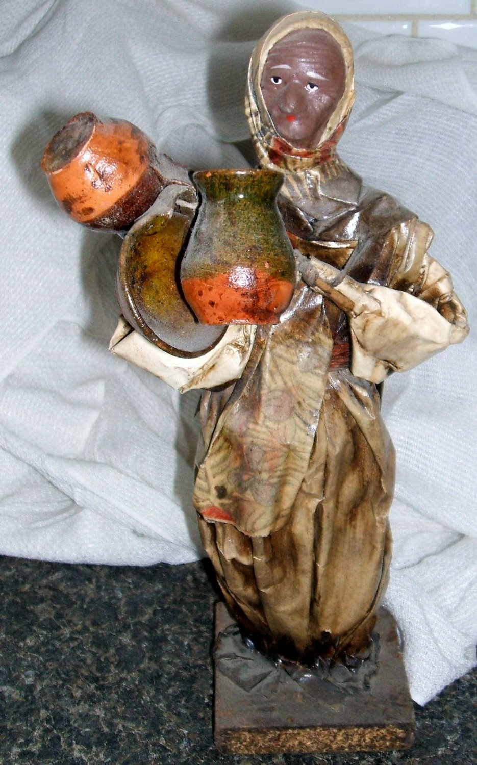 Mexican Paper Mache Sculpture Woman with pans and jugs