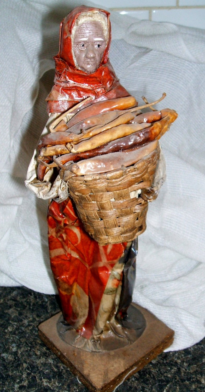 Mexican Paper Mache Sculpture Woman with peppers