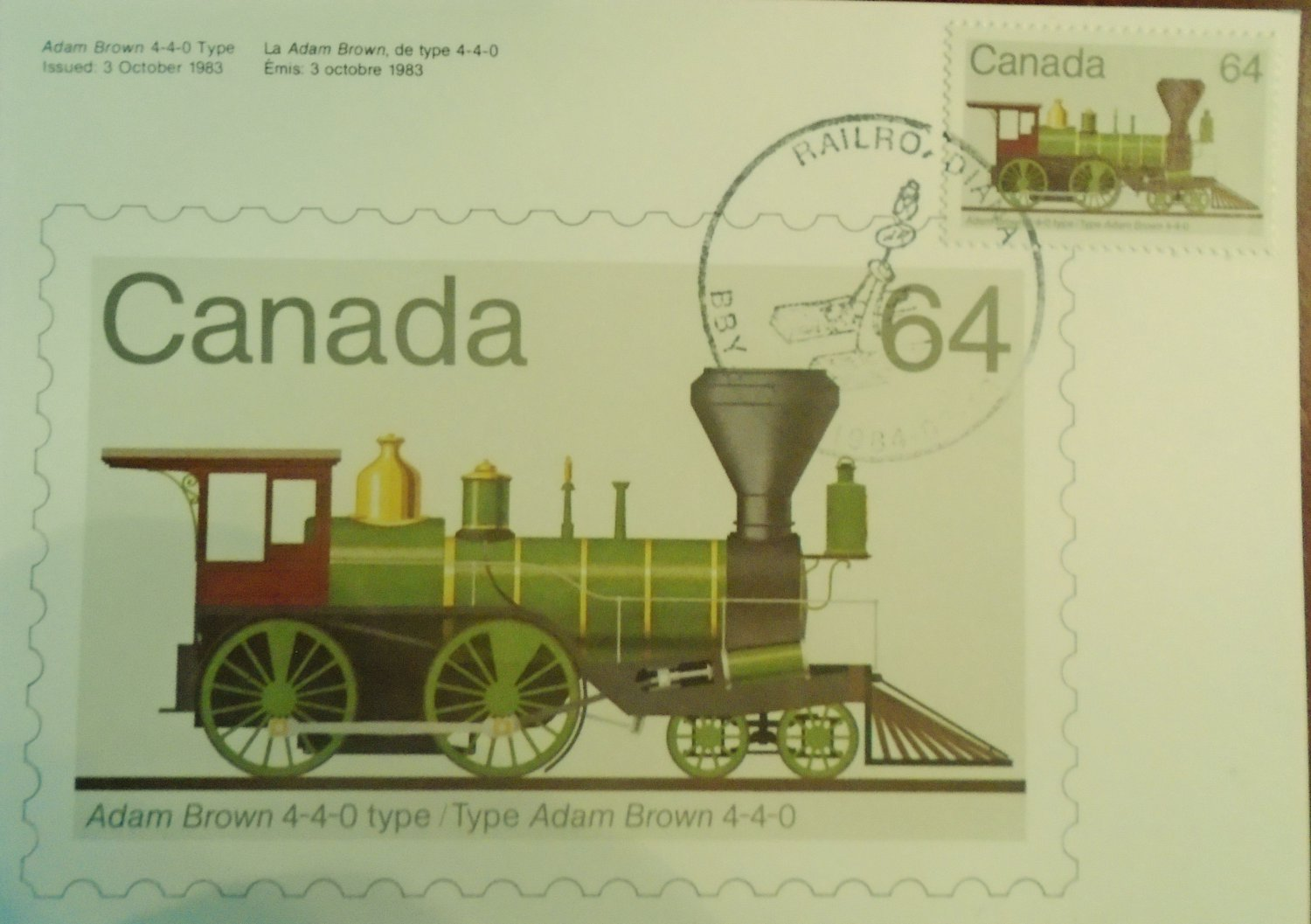 Canada 1984 Railroadiana First Day Cover Post Card Limited Edition #94 of 300  64 cents