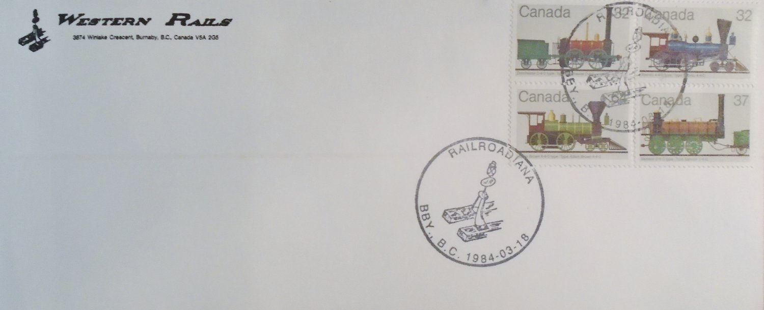 Canada 1984 Railroadiana First Day Cover Post Card Limited Edition #52 of 80, Block