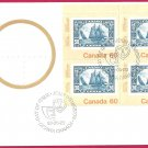 Canada 60c OFDC # 913 URpb BLUENOSE corner block