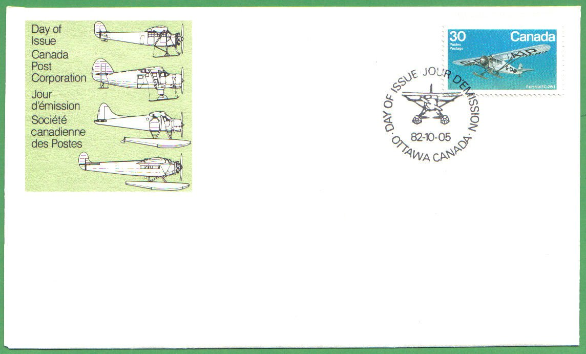 1982 CANADA FDC FAIRCHILD FC-2W1 30C STAMP #969 CP DAY OF ISSUE COVER