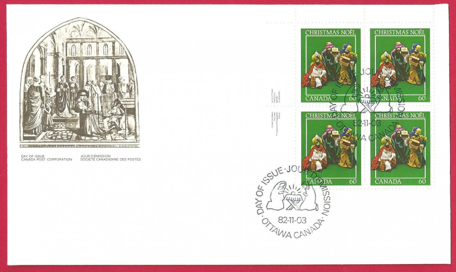FDC  Canada 1982 Christmas St Francis of Assisi and the Christmas Crib Green  Block
