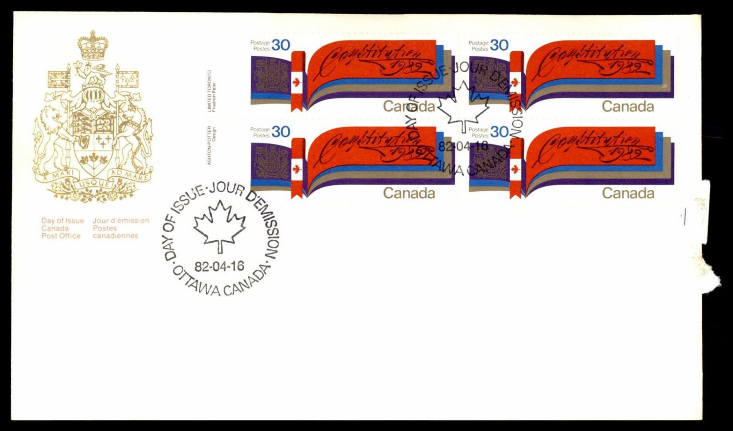 CANADA FDC 1982 CONSTITUTION BL PLATE BLOCK