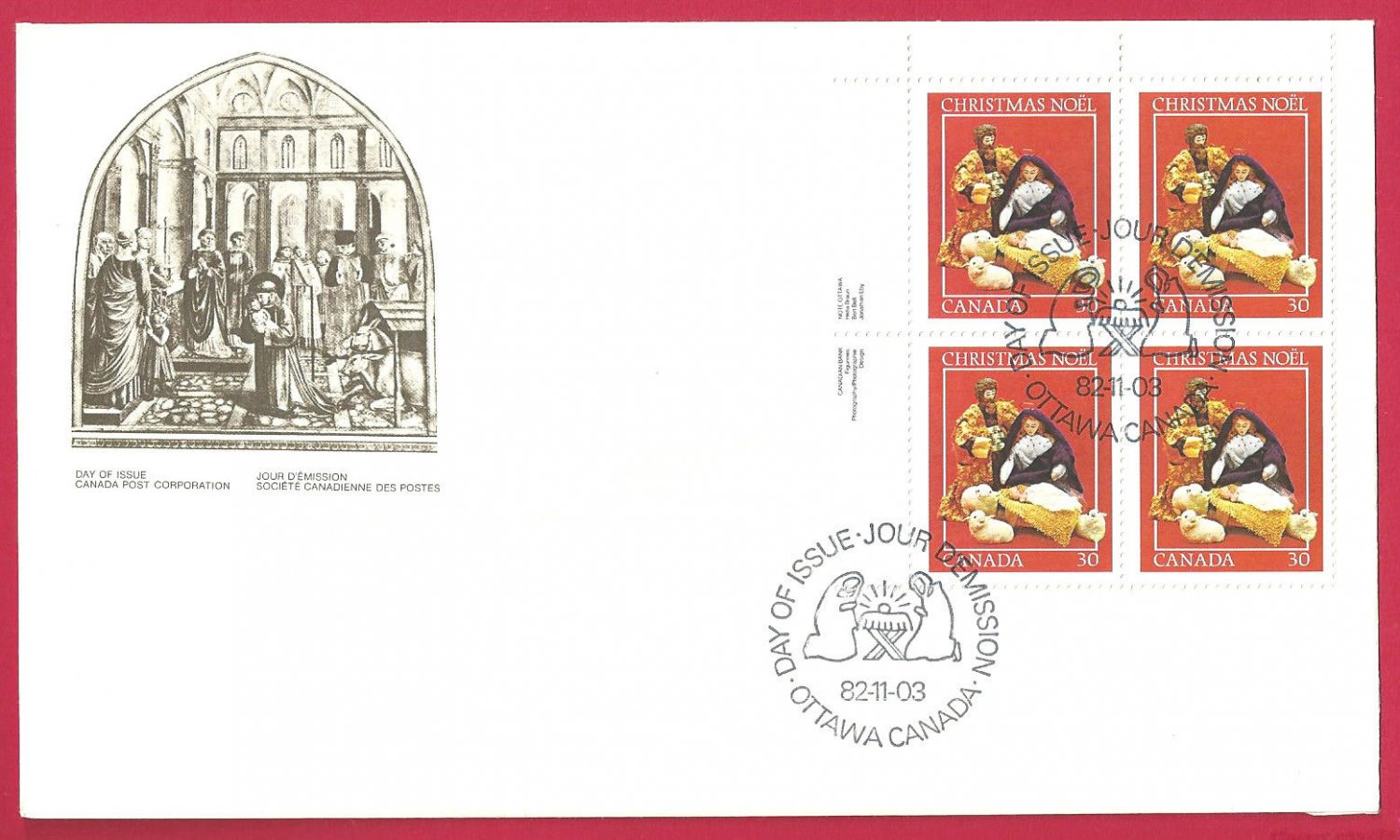FDC  Canada 1982 Christmas St Francis of Assisi and the Christmas Crib Red Block