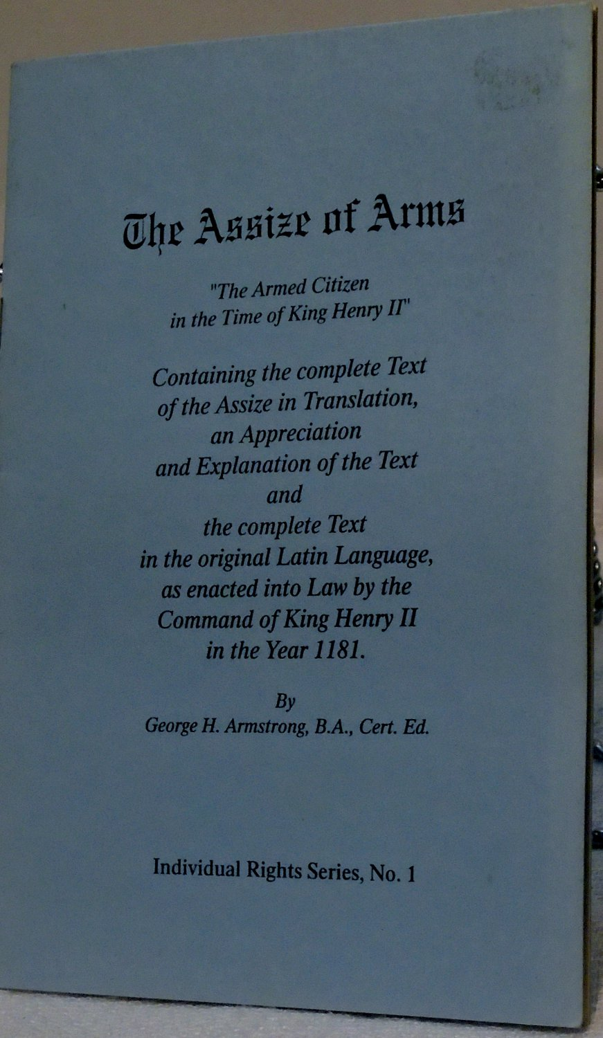 The Assize of Arms AaA Publishing 2001