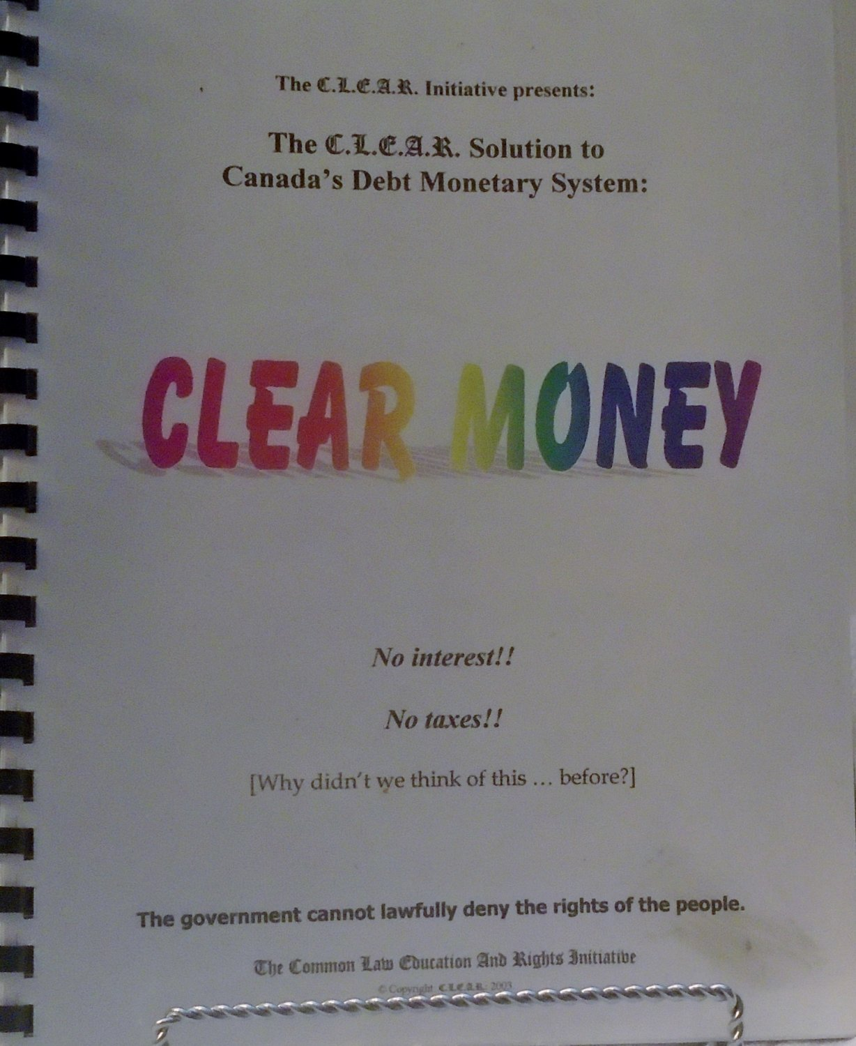 CLEAR MONEY - a solution to the debt monetary system