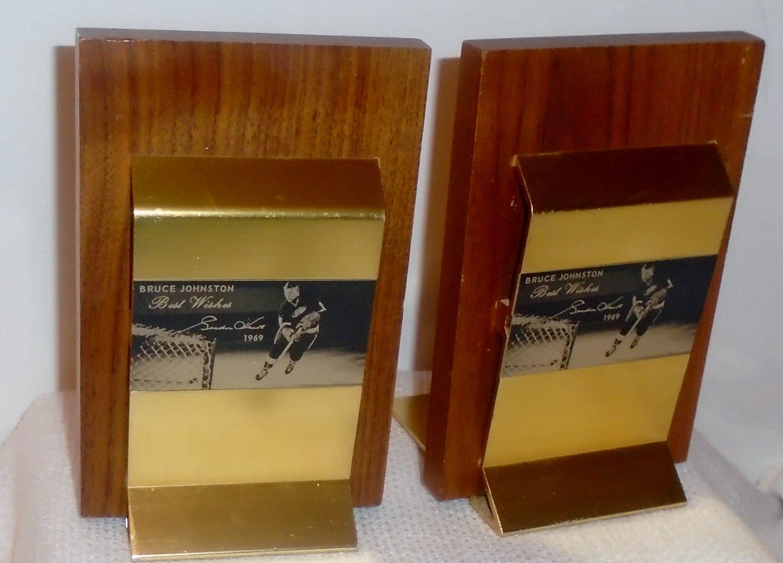 Gordie Howe Bookends (Wood & Brass)
