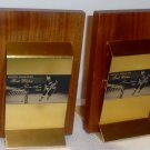 Gordie Howe Bookends (Wood & Brass)